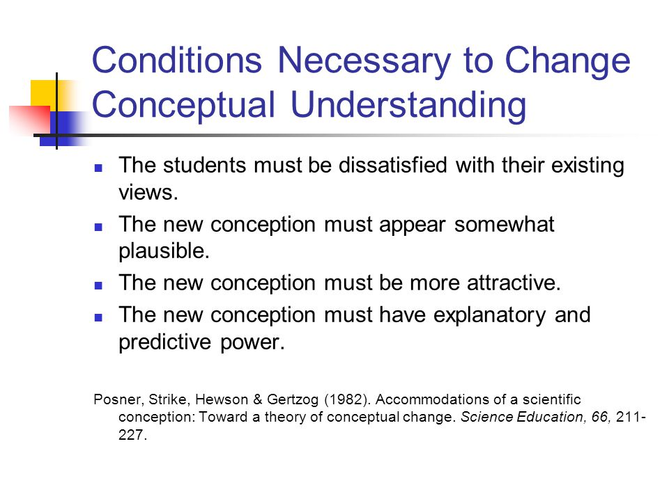 Conditions Necessary to Change Conceptual Understanding The students must be dissatisfied with their existing views. The new conception must appear so