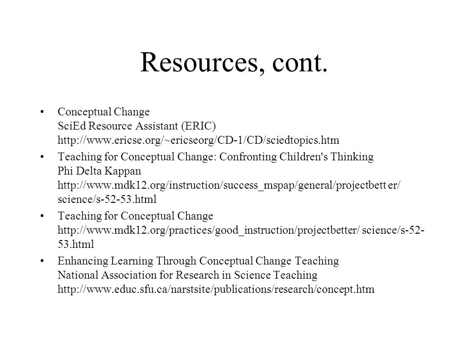 Resources, cont.