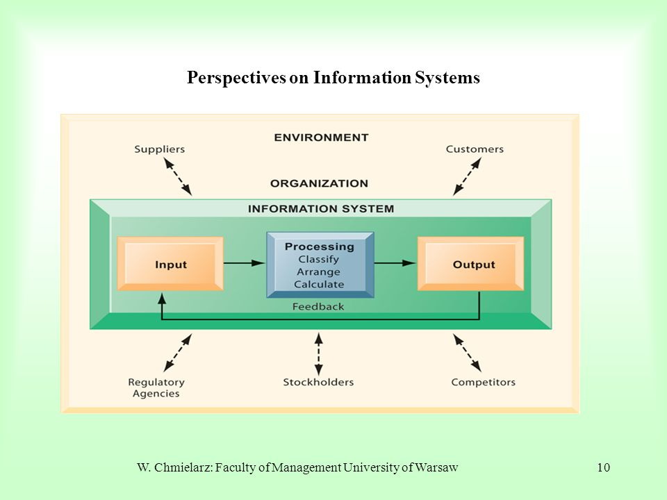 W. Chmielarz: Faculty of Management University of Warsaw10 Perspectives on Information Systems