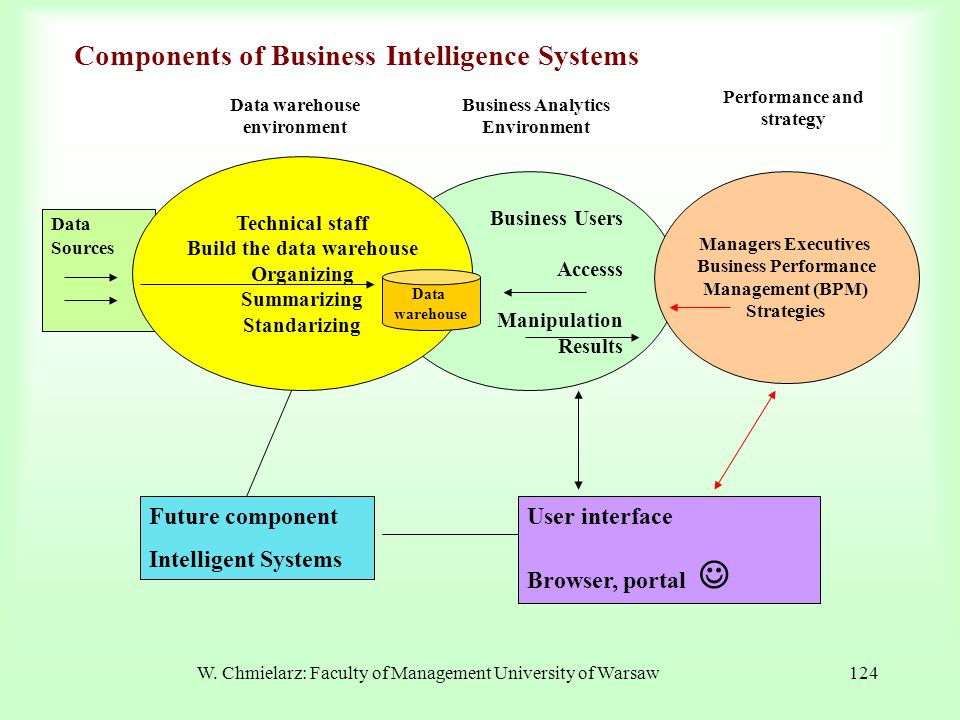 W. Chmielarz: Faculty of Management University of Warsaw124 Business Users Accesss Manipulation Results Components of Business Intelligence Systems Da