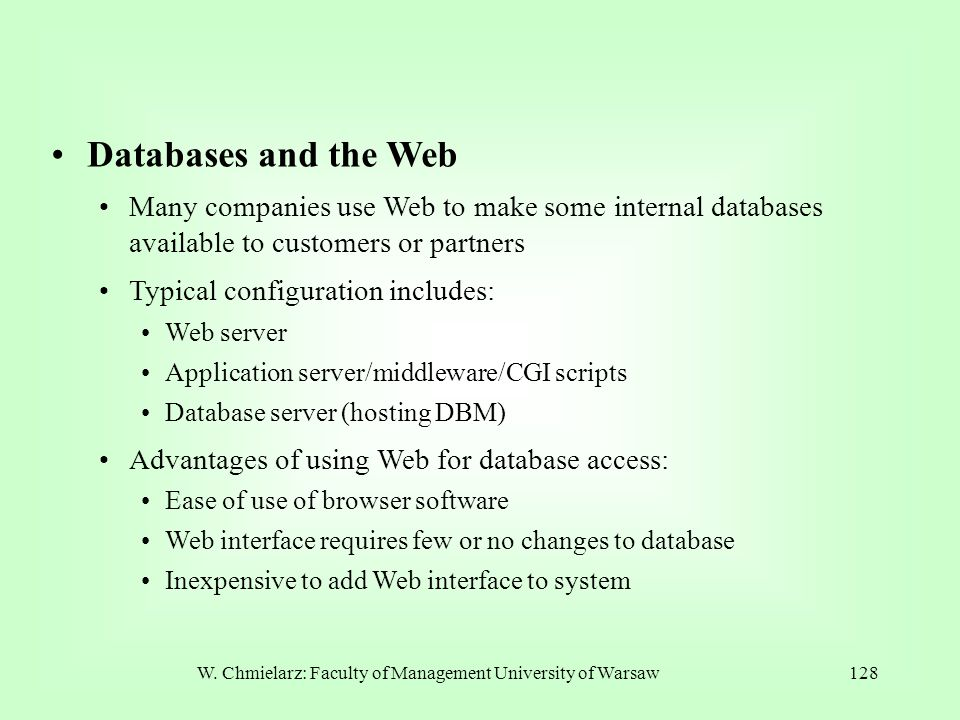 W. Chmielarz: Faculty of Management University of Warsaw128 Databases and the Web Many companies use Web to make some internal databases available to