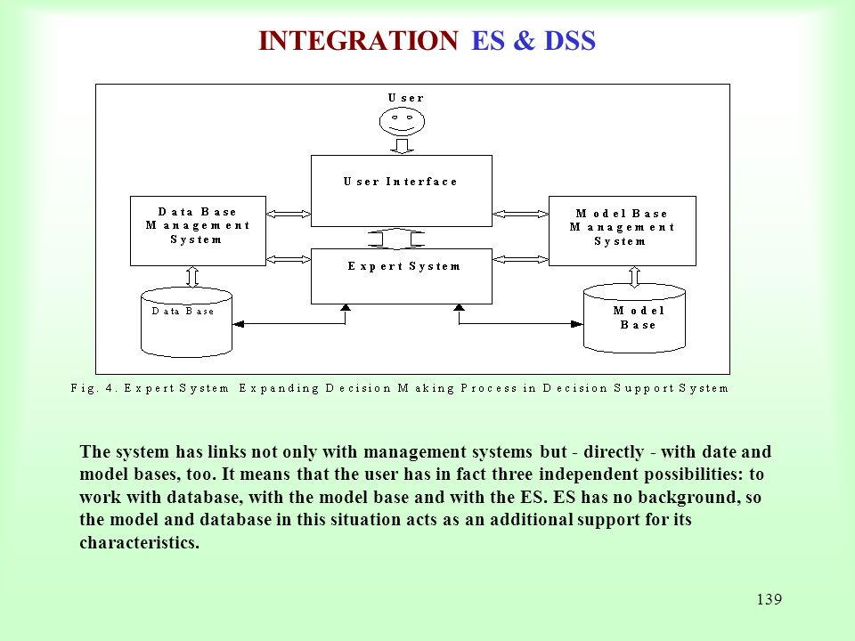 139 INTEGRATION ES & DSS The system has links not only with management systems but - directly - with date and model bases, too. It means that the user