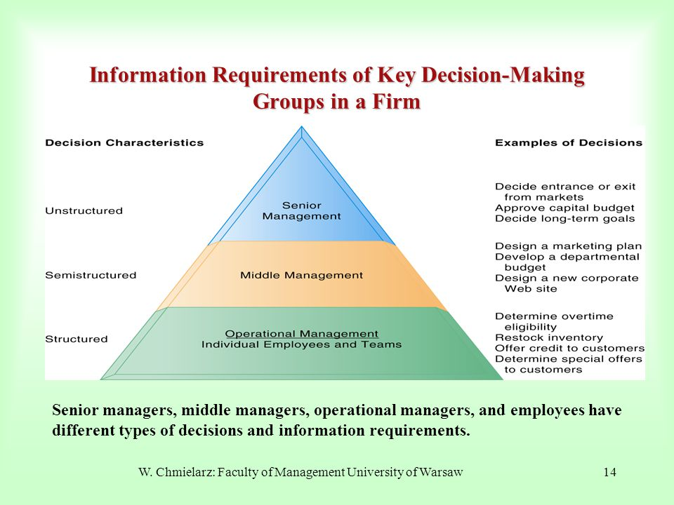 W. Chmielarz: Faculty of Management University of Warsaw14 Information Requirements of Key Decision-Making Groups in a Firm Senior managers, middle ma