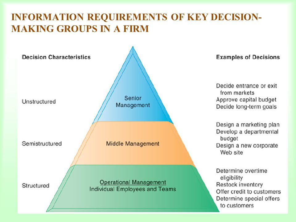 INFORMATION REQUIREMENTS OF KEY DECISION- MAKING GROUPS IN A FIRM