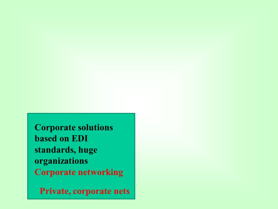 Corporate solutions based on EDI standards, huge organizations Corporate networking Private, corporate nets