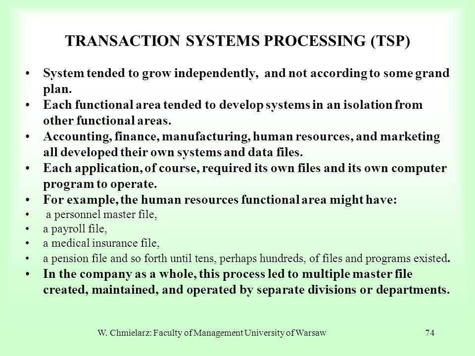 TRANSACTION SYSTEMS PROCESSING (TSP) System tended to grow independently, and not according to some grand plan. Each functional area tended to develop
