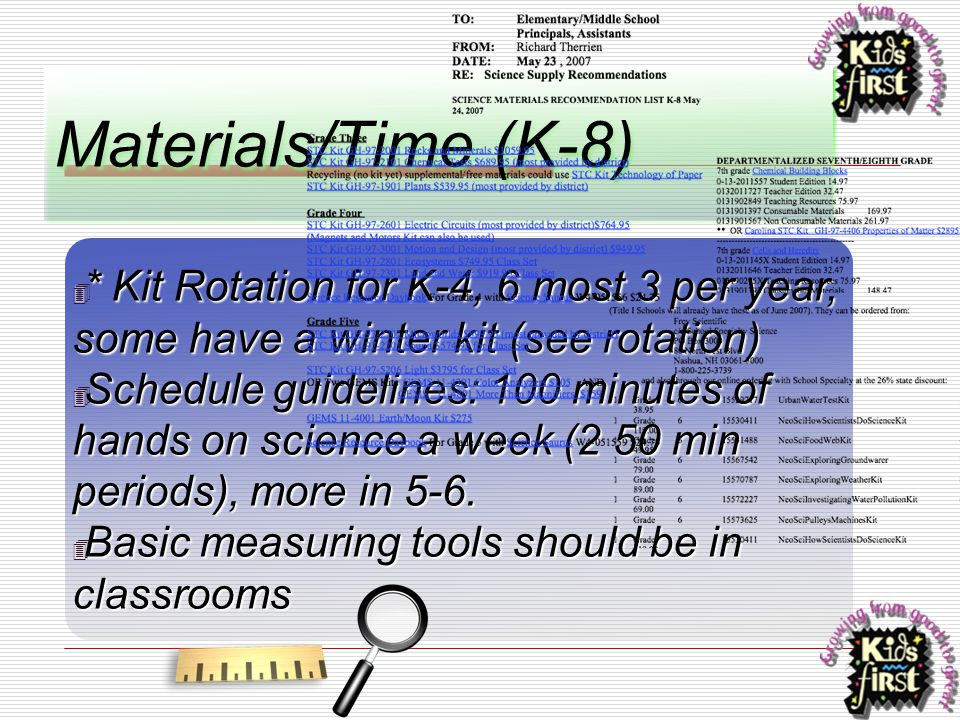 Materials/Time (K-8) ✴ * Kit Rotation for K-4, 6 most 3 per year, some have a winter kit (see rotation) ✴ Schedule guidelines: 100 minutes of hands on