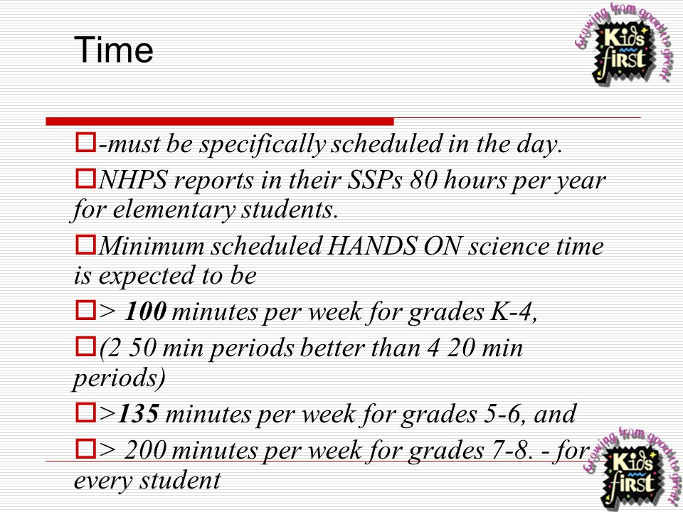 Time  -must be specifically scheduled in the day.  NHPS reports in their SSPs 80 hours per year for elementary students.  Minimum scheduled HANDS O