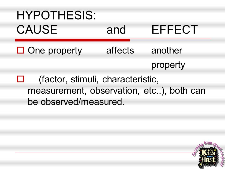 HYPOTHESIS: CAUSEandEFFECT  One propertyaffectsanother property  (factor, stimuli, characteristic, measurement, observation, etc..), both can be obs