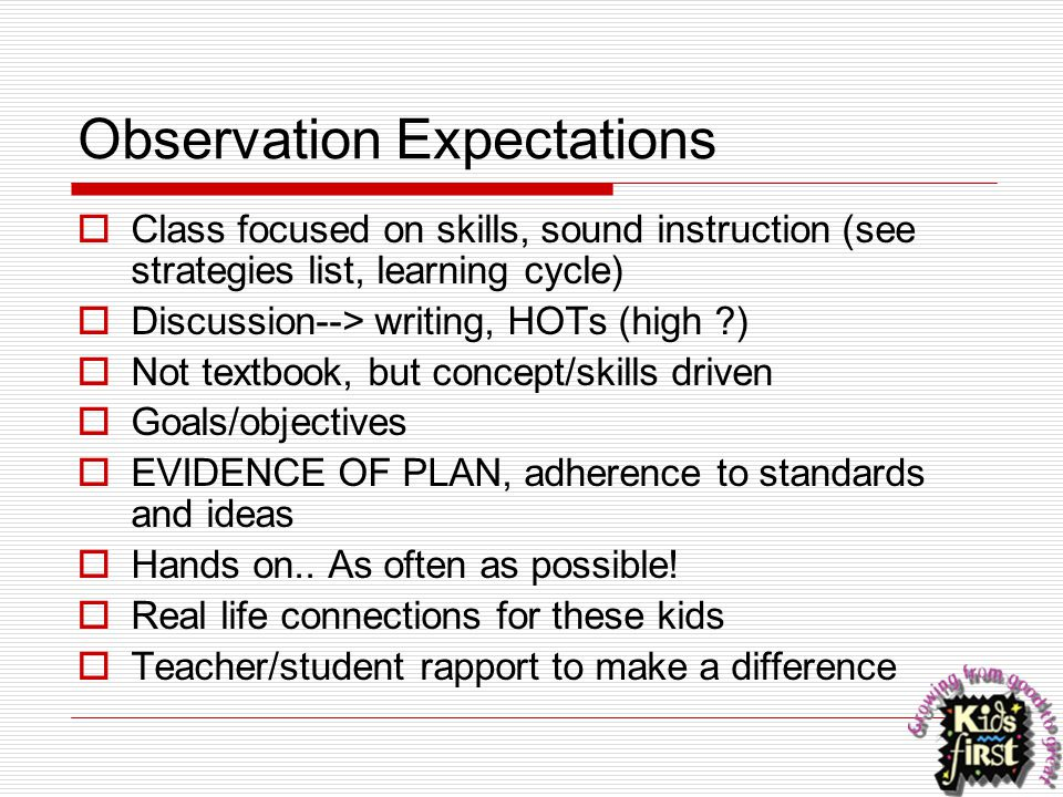 Observation Expectations  Class focused on skills, sound instruction (see strategies list, learning cycle)  Discussion--> writing, HOTs (high ?)  N