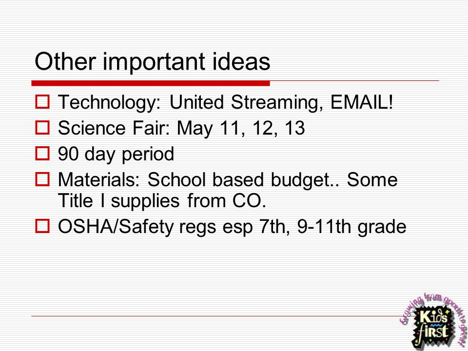 Other important ideas  Technology: United Streaming, EMAIL!  Science Fair: May 11, 12, 13  90 day period  Materials: School based budget.. Some Ti