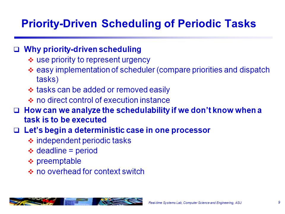 Real-time Systems Lab, Computer Science and Engineering, ASU Priority-Driven Scheduling of Periodic Tasks  Why priority-driven scheduling  use prior