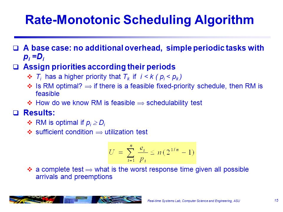Real-time Systems Lab, Computer Science and Engineering, ASU Rate-Monotonic Scheduling Algorithm  A base case: no additional overhead, simple periodic tasks with p i =D i  Assign priorities according their periods  T i has a higher priority that T k if i < k ( p i < p k )  Is RM optimal.