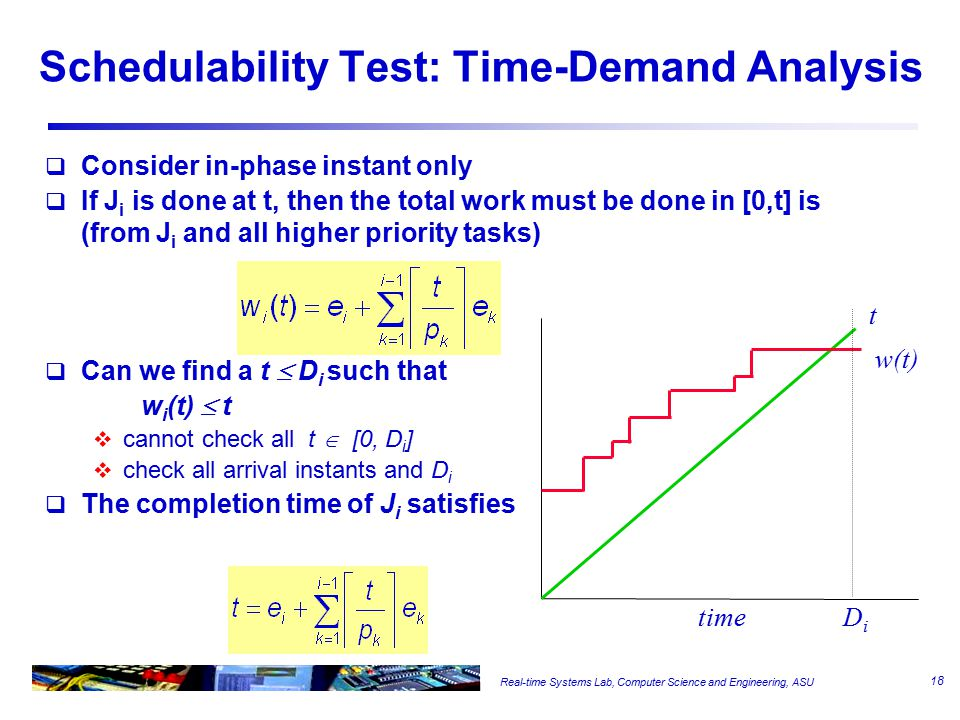 Real-time Systems Lab, Computer Science and Engineering, ASU Schedulability Test: Time-Demand Analysis  Consider in-phase instant only  If J i is done at t, then the total work must be done in [0,t] is (from J i and all higher priority tasks)  Can we find a t  D i such that w i (t)  t  cannot check all t  [0, D i ]  check all arrival instants and D i  The completion time of J i satisfies t w(t) timeDiDi 18