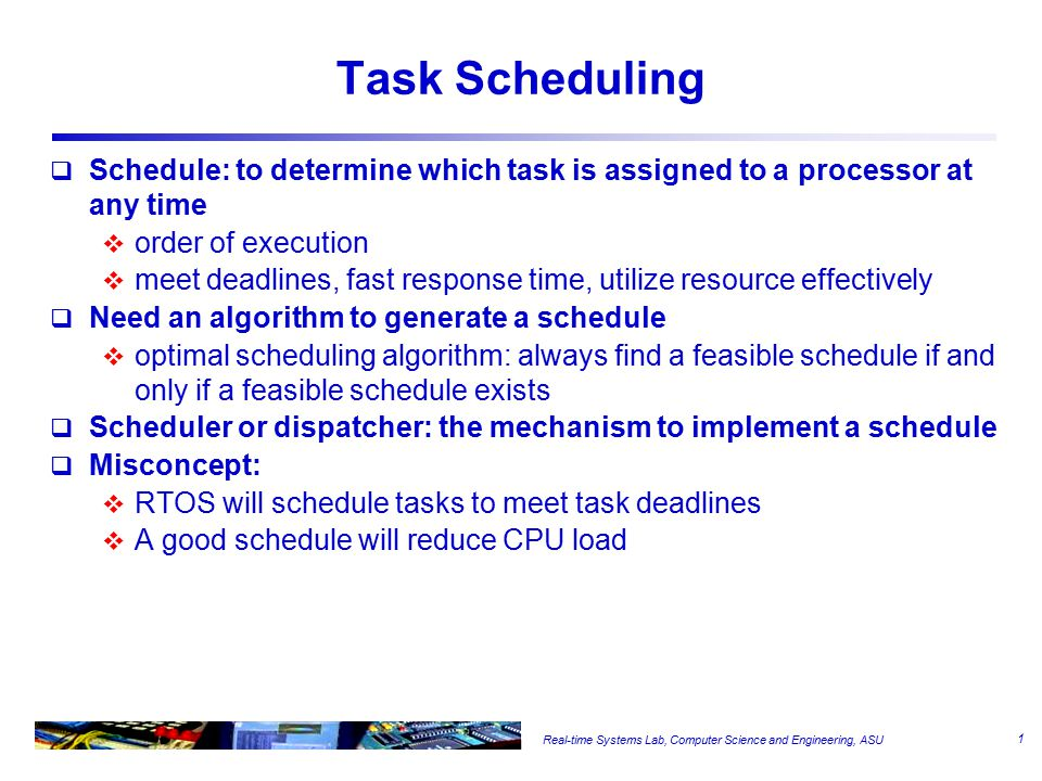 Real-time Systems Lab, Computer Science and Engineering, ASU scheduling points Timeline for The Sample Problem 0100200 300400 33 22 11 22