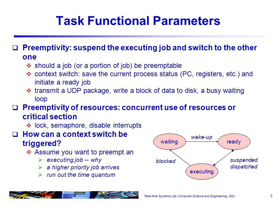 Real-time Systems Lab, Computer Science and Engineering, ASU EDF Schedule  A optimal algorithm under single processor and preemptable tasks  How do we know a set of periodic tasks are schedulable under EDF .
