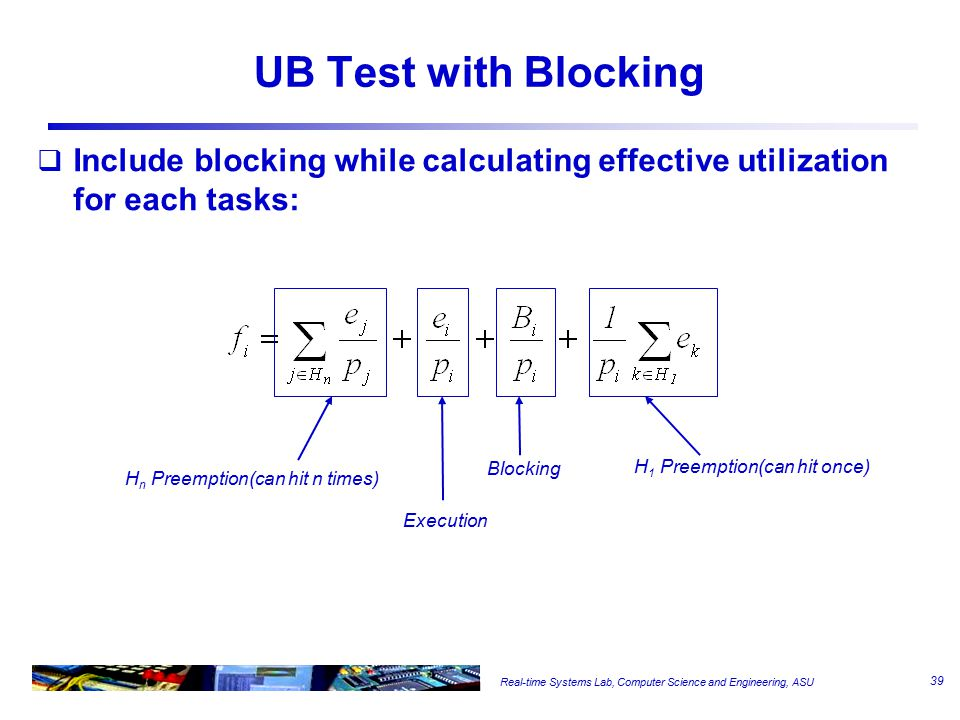Real-time Systems Lab, Computer Science and Engineering, ASU UB Test with Blocking  Include blocking while calculating effective utilization for each