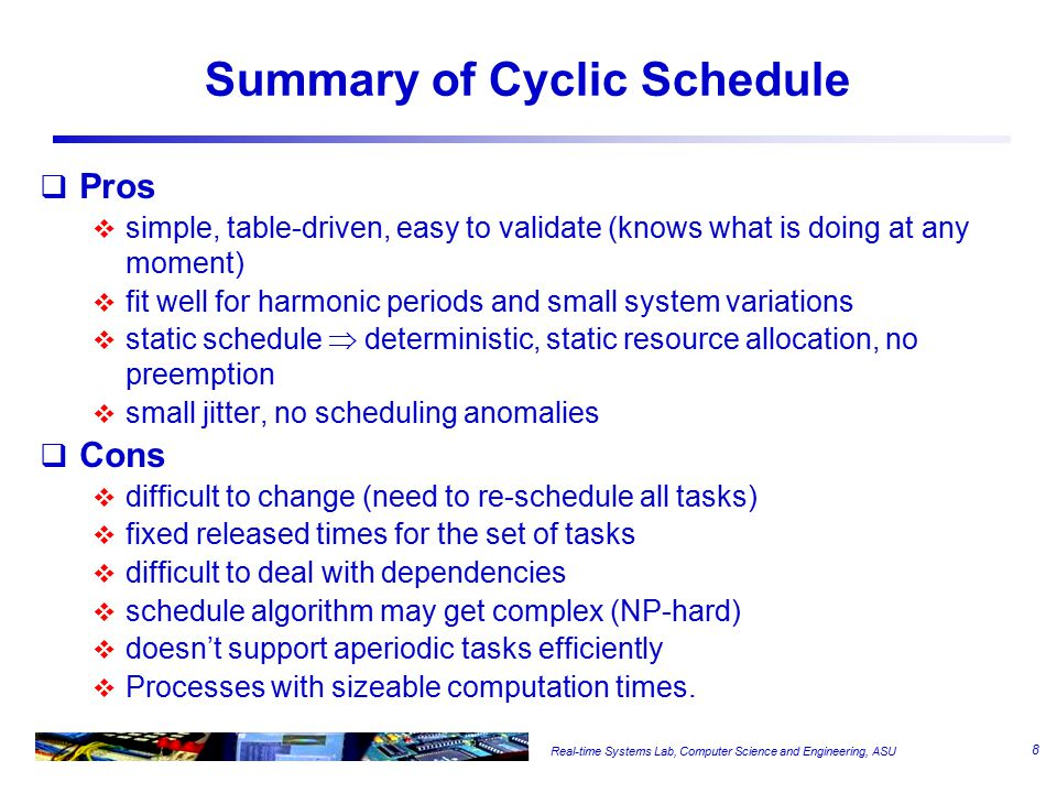 Real-time Systems Lab, Computer Science and Engineering, ASU Summary of Cyclic Schedule  Pros  simple, table-driven, easy to validate (knows what is doing at any moment)  fit well for harmonic periods and small system variations  static schedule  deterministic, static resource allocation, no preemption  small jitter, no scheduling anomalies  Cons  difficult to change (need to re-schedule all tasks)  fixed released times for the set of tasks  difficult to deal with dependencies  schedule algorithm may get complex (NP-hard)  doesn't support aperiodic tasks efficiently  Processes with sizeable computation times.