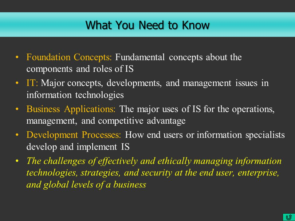 What You Need to Know Foundation Concepts: Fundamental concepts about the components and roles of IS IT: Major concepts, developments, and management