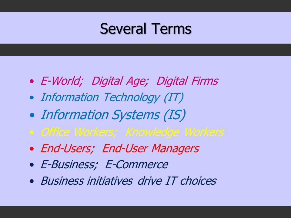Several Terms E-World; Digital Age; Digital Firms Information Technology (IT) Information Systems (IS) Office Workers; Knowledge Workers End-Users; End-User Managers E-Business; E-Commerce Business initiatives drive IT choices
