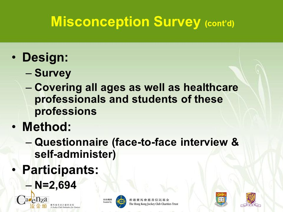 Misconception Survey (cont'd) Design: –Survey –Covering all ages as well as healthcare professionals and students of these professions Method: –Questi