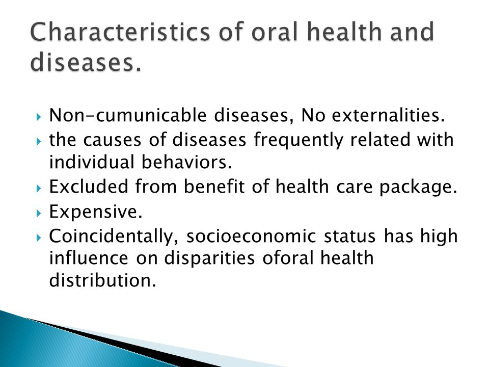  Non-cumunicable diseases, No externalities.