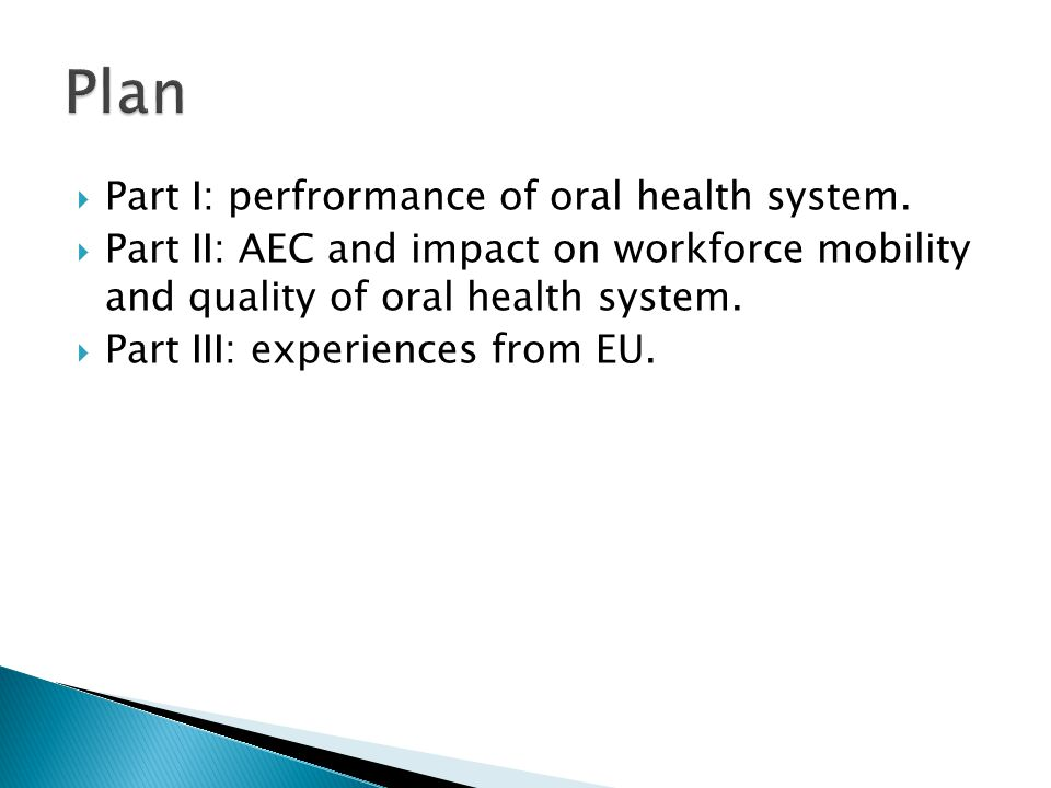  Part I: perfrormance of oral health system.