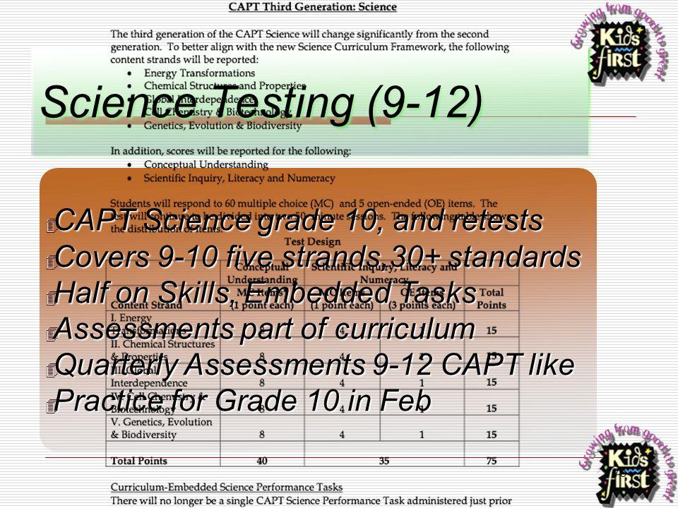 78 Science Testing (9-12) ✴ CAPT Science grade 10, and retests ✴ Covers 9-10 five strands,30+ standards ✴ Half on Skills, Embedded Tasks ✴ Assessments
