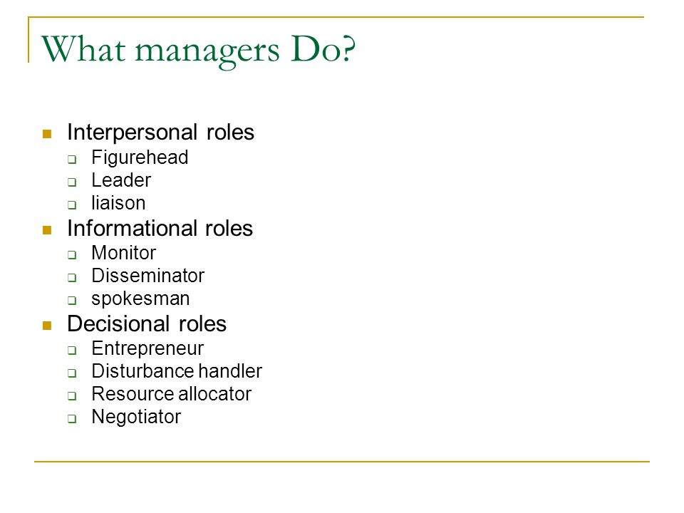 Interpersonal roles  Figurehead  Leader  liaison Informational roles  Monitor  Disseminator  spokesman Decisional roles  Entrepreneur  Disturbance handler  Resource allocator  Negotiator What managers Do