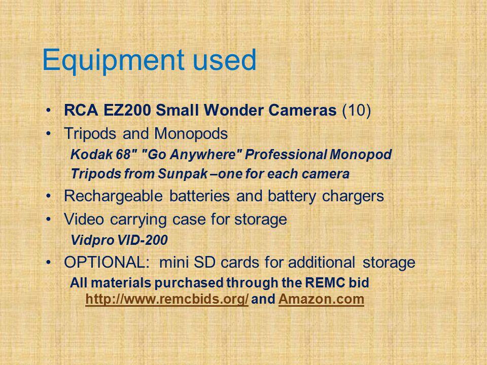 Equipment used RCA EZ200 Small Wonder Cameras (10) Tripods and Monopods Kodak 68