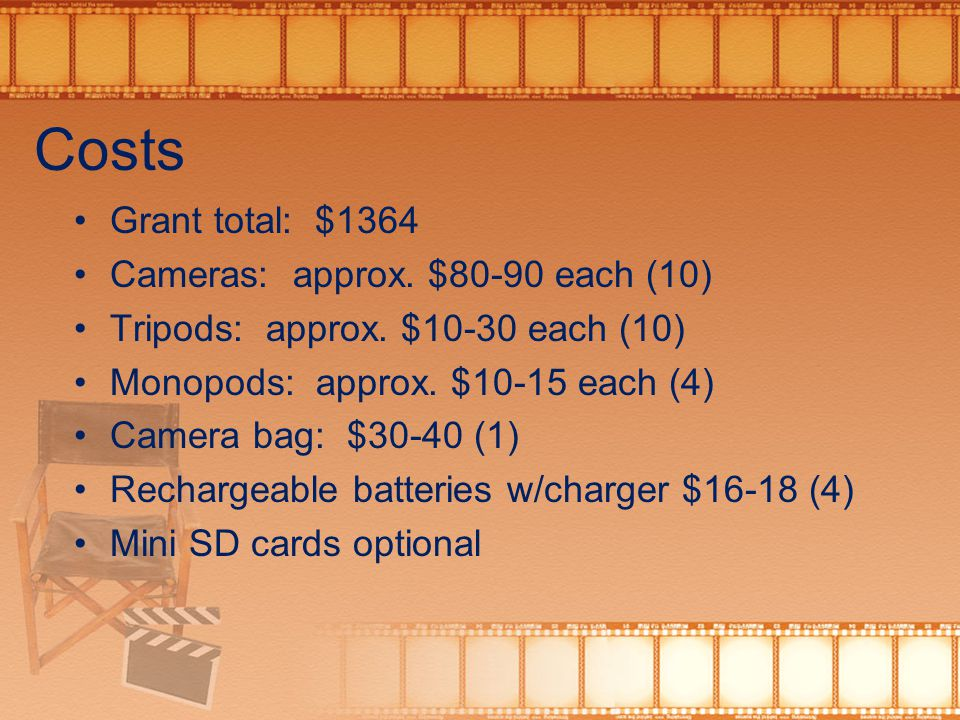 Costs Grant total: $1364 Cameras: approx. $80-90 each (10) Tripods: approx.