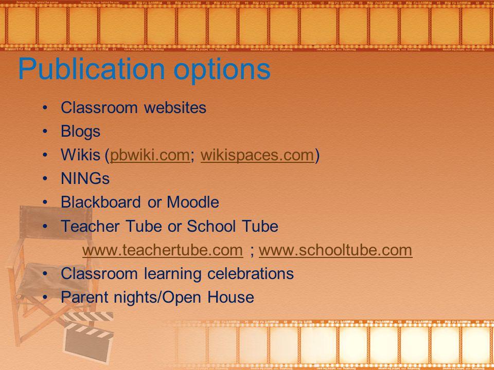 Publication options Classroom websites Blogs Wikis (pbwiki.com; wikispaces.com)pbwiki.comwikispaces.com NINGs Blackboard or Moodle Teacher Tube or Sch