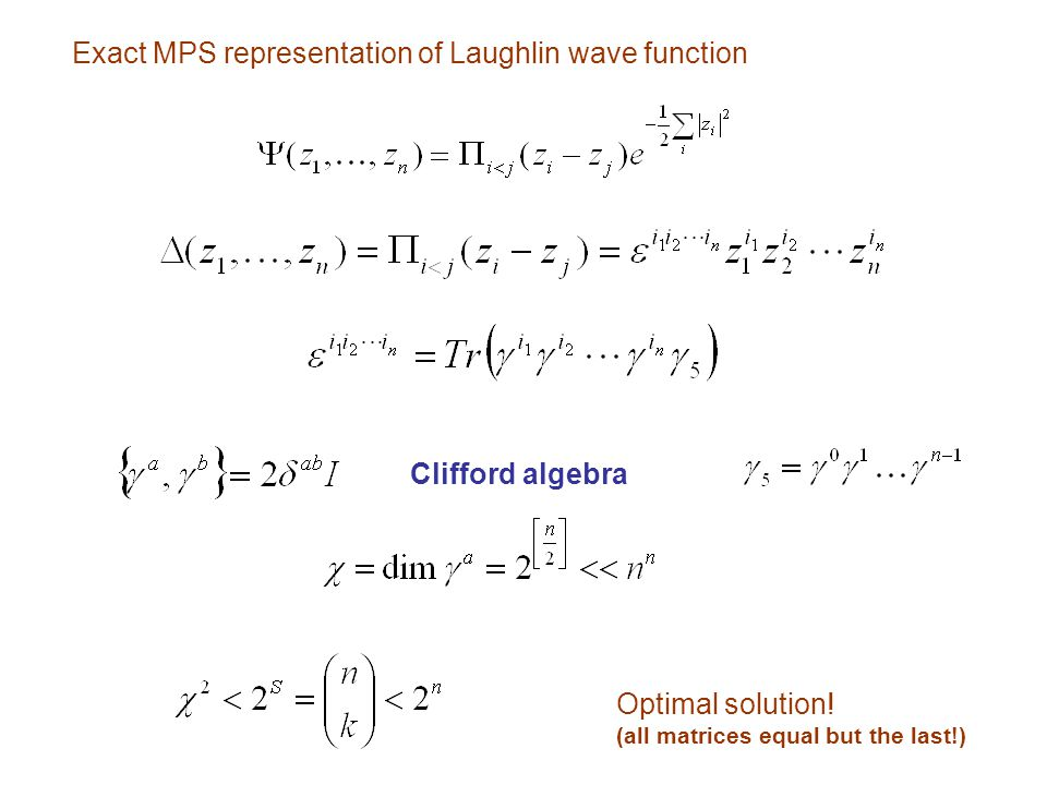 Exact MPS representation of Laughlin wave function Clifford algebra Optimal solution! (all matrices equal but the last!)