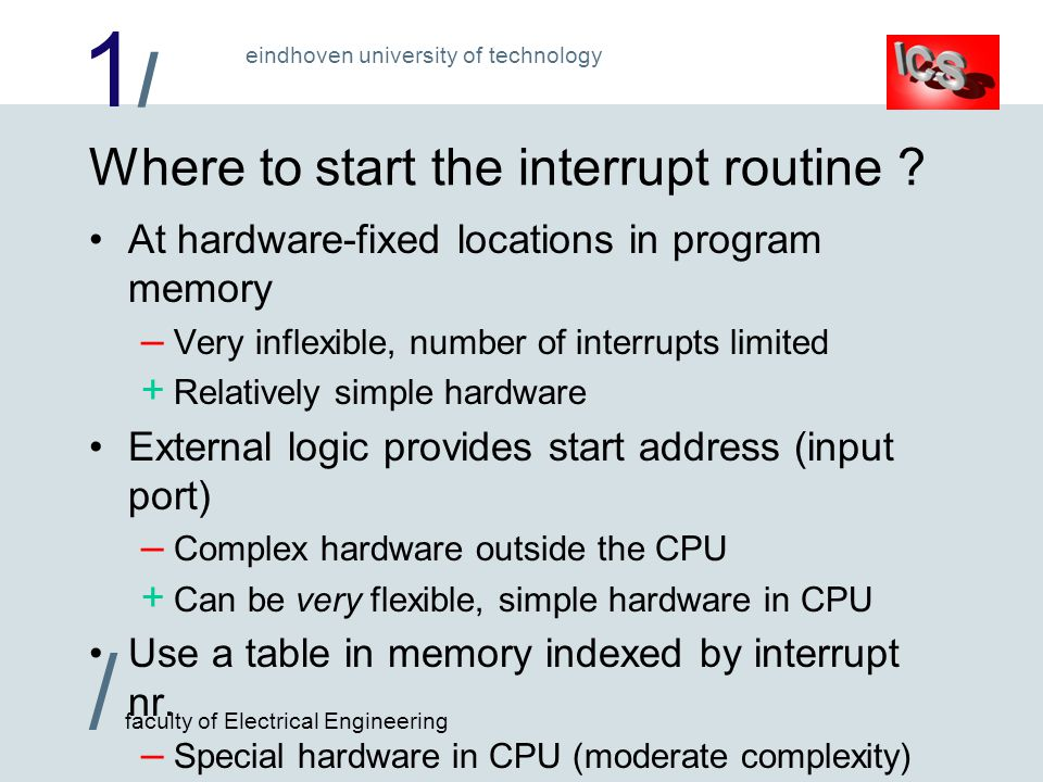 1/1/ / faculty of Electrical Engineering eindhoven university of technology Where to start the interrupt routine .