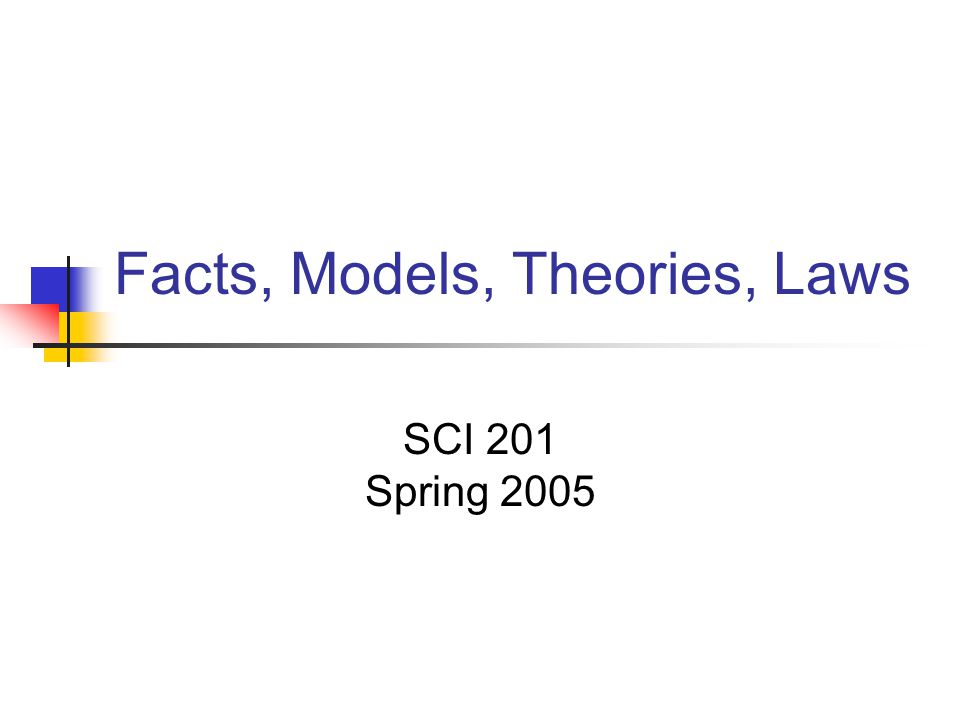 Facts, Models, Theories, Laws SCI 201 Spring 2005
