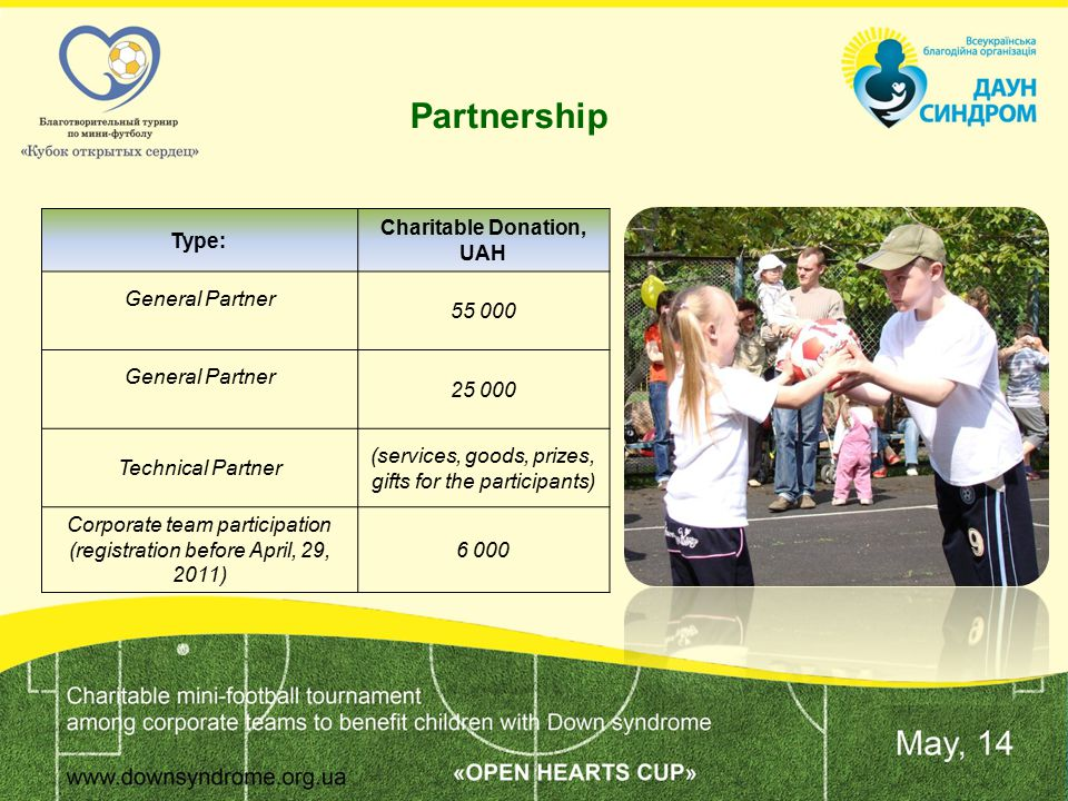 Tournament Description Corporate team Logo on the parents team T-shorts Announcement of the team name Banner General Partner1+parents teamх43 Official Partner/ Technical Partner 1/-3/32/1 Corporate team121 PR Media interviews (if possible) Media coverage (if possible) Photo and media reportThank you note on UDSO website General PartnerxxxX Official Partner/ Technical Partner ххX Corporate teamxX Partner's Benefits