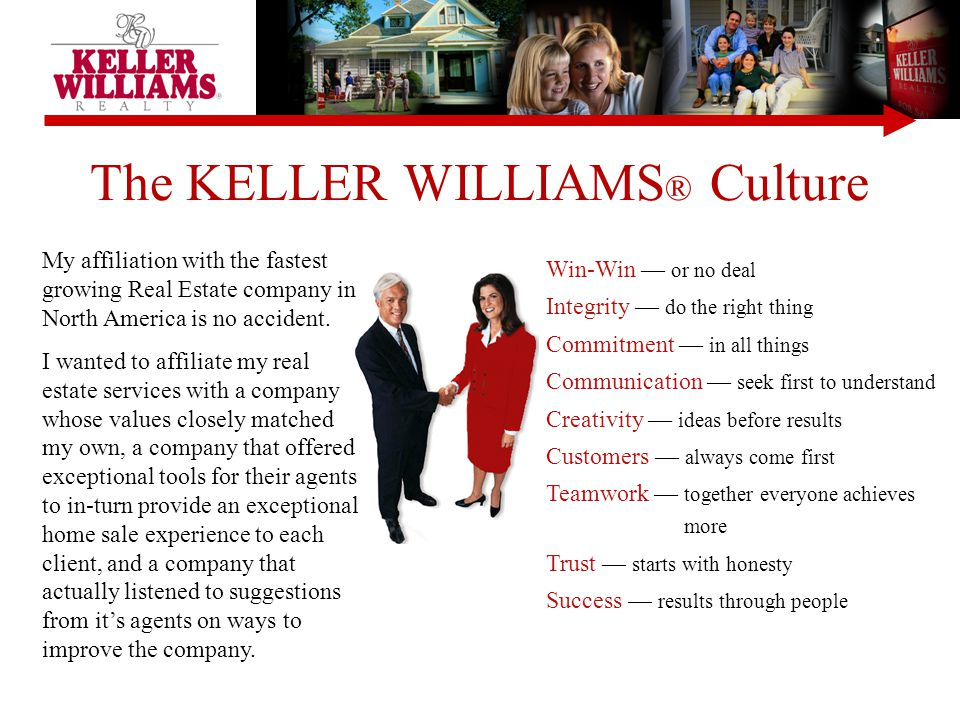 The KELLER WILLIAMS ® Culture Win-Win — or no deal Integrity — do the right thing Commitment — in all things Communication — seek first to understand Creativity — ideas before results Customers — always come first Teamwork — together everyone achieves more Trust — starts with honesty Success — results through people My affiliation with the fastest growing Real Estate company in North America is no accident.