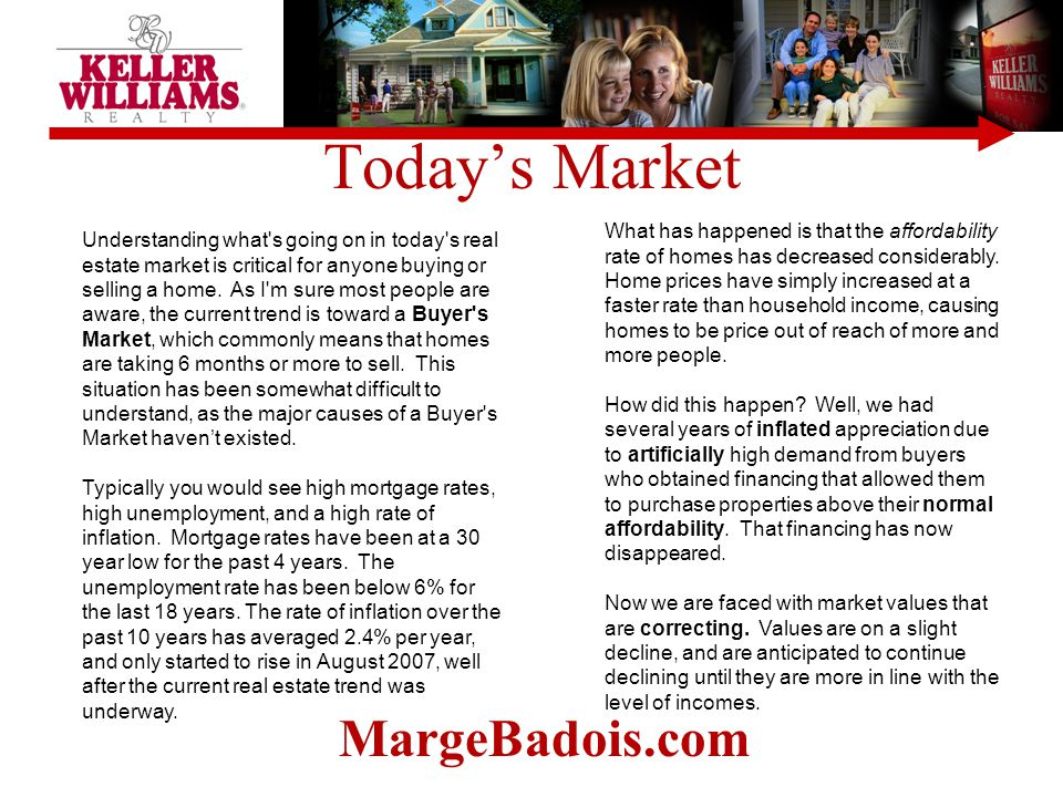 Today's Market Understanding what's going on in today's real estate market is critical for anyone buying or selling a home. As I'm sure most people ar