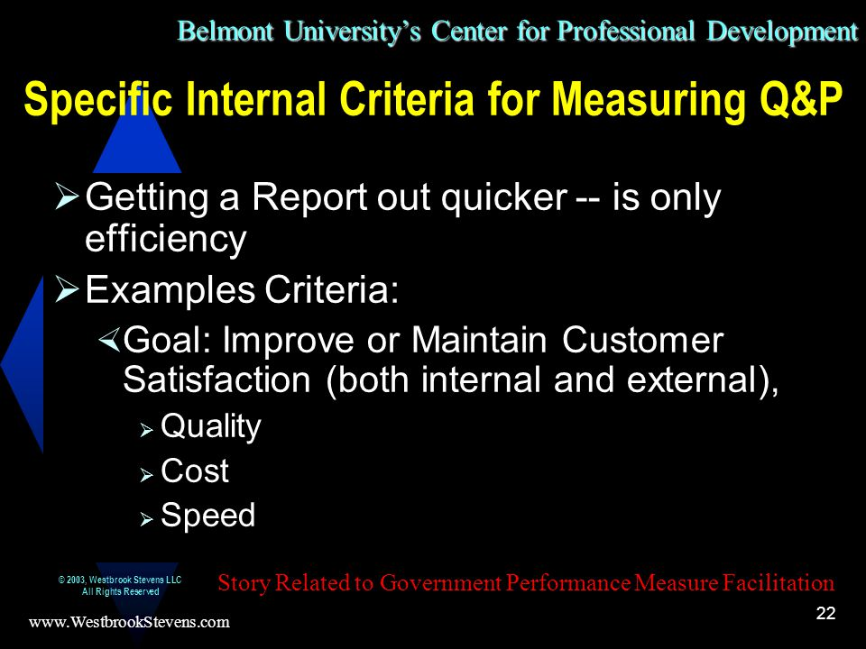 Belmont University's Center for Professional Development www.WestbrookStevens.com © 2003, Westbrook Stevens LLC All Rights Reserved 22 Specific Internal Criteria for Measuring Q&P  Getting a Report out quicker -- is only efficiency  Examples Criteria:  Goal: Improve or Maintain Customer Satisfaction (both internal and external),  Quality  Cost  Speed Story Related to Government Performance Measure Facilitation
