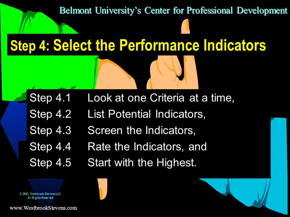 Belmont University's Center for Professional Development www.WestbrookStevens.com © 2003, Westbrook Stevens LLC All Rights Reserved 24 Step 4: Select the Performance Indicators Step 4.1Look at one Criteria at a time, Step 4.2List Potential Indicators, Step 4.3Screen the Indicators, Step 4.4Rate the Indicators, and Step 4.5Start with the Highest.