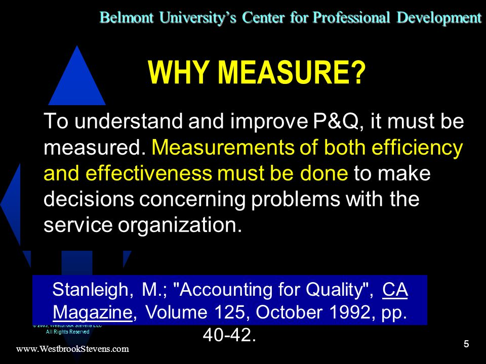Belmont University's Center for Professional Development www.WestbrookStevens.com © 2003, Westbrook Stevens LLC All Rights Reserved 5 To understand and improve P&Q, it must be measured.
