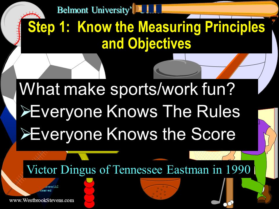 Belmont University's Center for Professional Development www.WestbrookStevens.com © 2003, Westbrook Stevens LLC All Rights Reserved 30 Start and Improve Begin with a reasonable set of metrics and refine them as data is collected and experience is gained; do not insist on the perfect set of metrics at first. Salemme, T.; Establishing Metrics for Service Based Work , Conference Proceedings: Sixth Annual National Conference on Federal Quality, Federal Quality Institute, President s Council on Management Improvement, American Society for Quality Control, Association for Quality and Participation, and Quality & Productivity Management Association, 1993, pp.