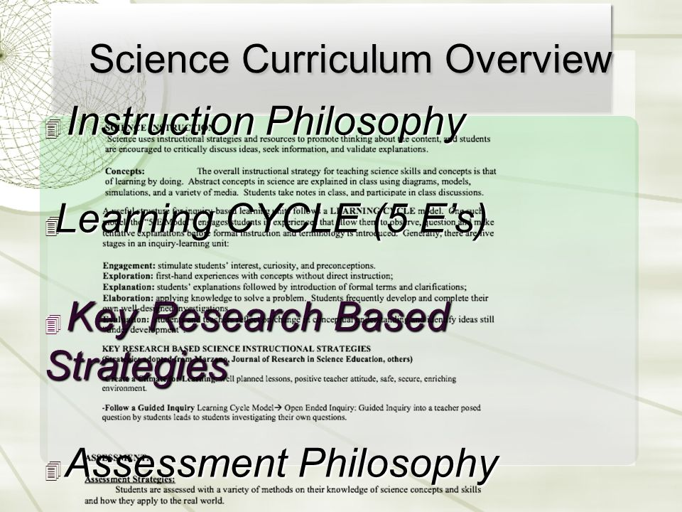 Science Curriculum Overview ✴ Instruction Philosophy ✴ Learning CYCLE (5 E's) ✴ Key Research Based Strategies ✴ Assessment Philosophy