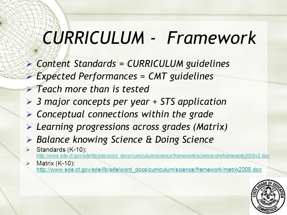 CONNECTIONS THAT SUPPORT LEARNING STANDARDS: What Students Should Know CURRICULUM INSTRUCTION ASSESSMENT District Scope & Sequence District Summative & Classroom Formative Assessments State FrameworkState Summative CMT & CAPT State: CCT & BEST District: Professional Growth Plan & PD