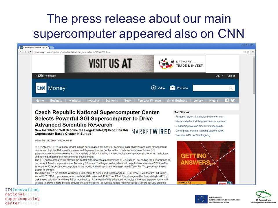 The press release about our main supercomputer appeared also on CNN