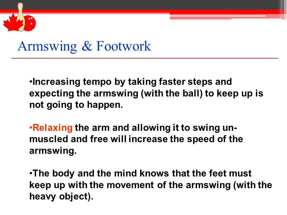 Increasing tempo by taking faster steps and expecting the armswing (with the ball) to keep up is not going to happen. Relaxing the arm and allowing it