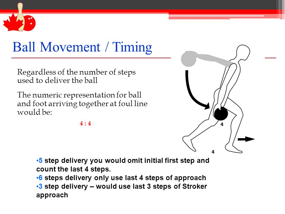 Ball Movement / Timing Regardless of the number of steps used to deliver the ball The numeric representation for ball and foot arriving together at fo