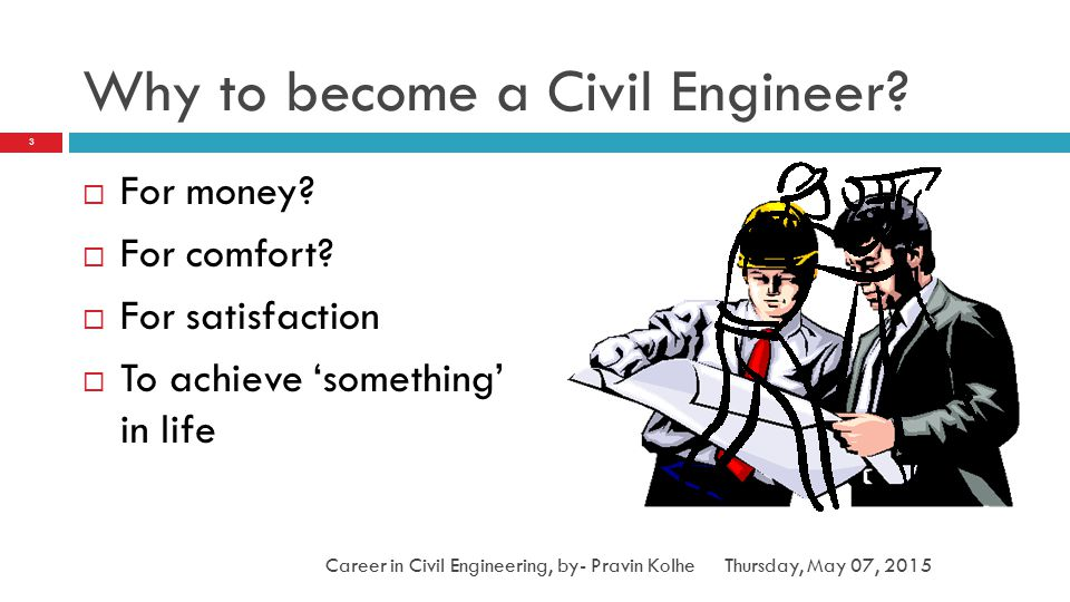 Why to become a Civil Engineer?  For money?  For comfort?  For satisfaction  To achieve 'something' in life 3 Career in Civil Engineering, by- Pra