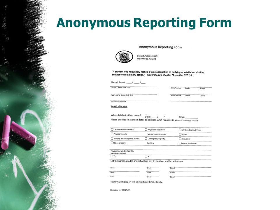 WHEN IN DOUBT….. REPORT!