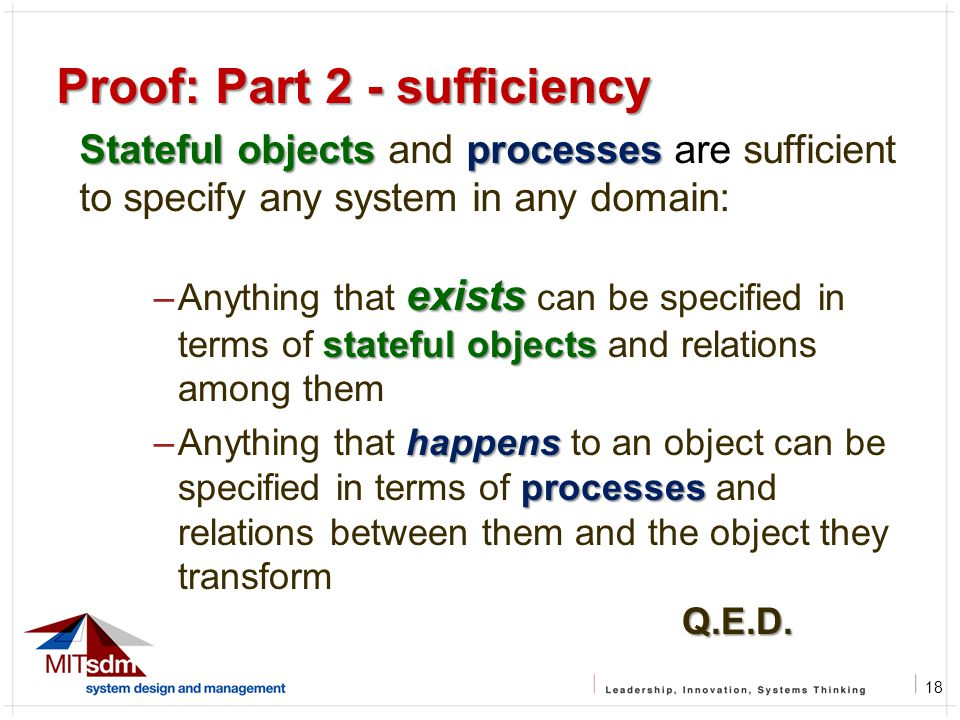 18 Proof: Part 2 - sufficiency Stateful objects processes Stateful objects and processes are sufficient to specify any system in any domain: exists st